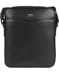 BOSS Reporter Bag In Grained Palmellato Leather - Black