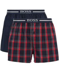 BOSS Two-pack Of Pyjama Shorts With Metallic-logo Waistbands - Red