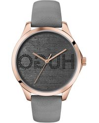 HUGO Carnation-gold-effect Watch With Reverse-logo Dial - Grey