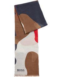 BOSS Écharpe en modal et coton à imprimé monogrammé - Bleu
