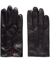 HUGO Nappa-leather Gloves With Snap-close Cuff - Black