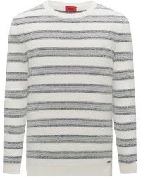 HUGO - Cotton-blend Jumper With Jacquard Stripe - Lyst