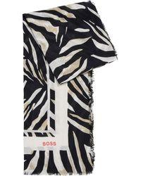 BOSS by Hugo Boss Foulard en coton et modal à imprimé de la saison - Multicolore
