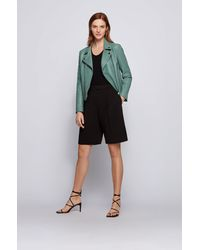 BOSS by HUGO BOSS Regular-fit Biker Jacket In Naturally Tanned Leather - Multicolour