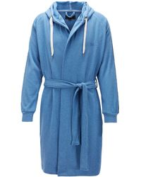 BOSS - Cotton-blend Hooded Bathrobe With Striped Sleeves - Lyst