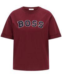 BOSS by HUGO BOSS Oversized-fit Logo-t-shirt In Jersey Van Biologische Katoen - Rood