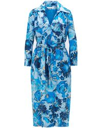 BOSS Monogram Shirt Dress In Pure Silk With Floral Print - Blue