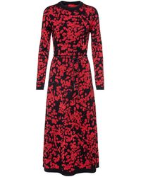 HUGO A-line Dress With Jacquard-woven Cherry-blossom Print - Red