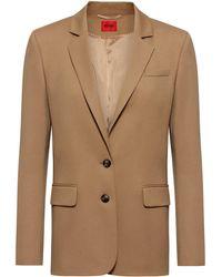 HUGO Regular-fit Jacket In Virgin-wool Flannel With Stretch - Brown