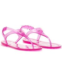HUGO Italian-made Sandals In Transparent Pvc With Logo Details - Pink