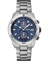 BOSS Chronograph Watch With Unidirectional Dive Bezel - Metallic