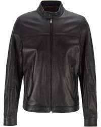BOSS Regular-fit Blouson Jacket In Nappa Leather - Black