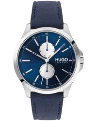 HUGO Cronografo con diversi contatori e cinturino in pelle blu