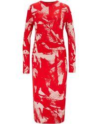 BOSS Esetta Long - Sleeve Floral - Print Dress - Red