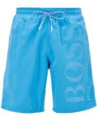 BOSS by HUGO BOSS Bañador short en tejido técnico cepillado - Azul