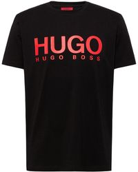 HUGO Logo-print Regular-fit T-shirt In Pure Cotton - Black