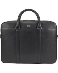 BOSS by Hugo Boss Porte-document à deux compartiments de la collection Signature en cuir palmellato - Noir