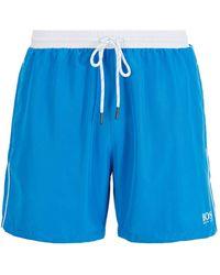 BOSS by Hugo Boss Bañador tipo shorts de largo medio en tejido de secado rápido - Azul