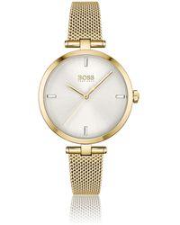 BOSS by HUGO BOSS Horloge Met Geelgoudkleurig Effect En Uuraanduidingen Van Kristallen - Metallic