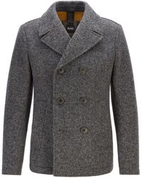 BOSS Double-breasted Felt Pea Coat With Mesh Lining - Gray