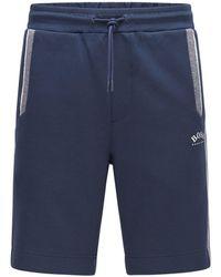 BOSS by HUGO BOSS Regular-fit Shorts Van Een Katoenmix Met Color-blocking - Blauw