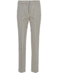 BOSS - Cropped Trousers In Fish-print Stretch Cotton Piqué - Lyst