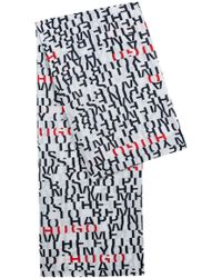 HUGO - Lightweight Modal-blend Scarf With Slogan Print - Lyst