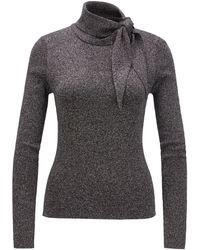 BOSS Slim-fit Knitted Sweater With Tie Neck - Gray