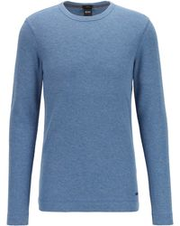 BOSS by HUGO BOSS Slim-fit T-shirt With Long Sleeves In Waffle Cotton - Blue