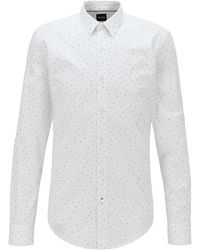 BOSS by Hugo Boss Slim-fit Shirt In Cotton With Exclusive Print - White