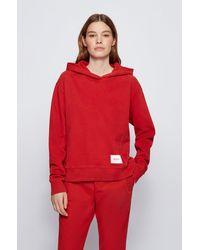 BOSS by HUGO BOSS Sweat à capuche Relaxed Fit en molleton avec patch logo - Rouge