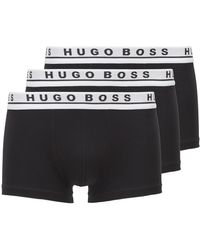 BOSS by Hugo Boss Three-pack Of Trunks With Logo Waistbands - Black