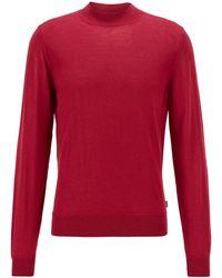 BOSS by HUGO BOSS Mock-neck Jumper In A Wool Blend - Red