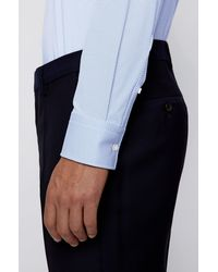 BOSS by HUGO BOSS Slim-fit Shirt In Structured Italian Performance-stretch Fabric - Blue