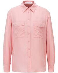 BOSS by Hugo Boss Long-sleeved Blouse In Sand-washed Silk - Pink