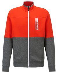 BOSS by HUGO BOSS Regular-fit Sweater Met Logostiksel In Color-blocking - Grijs