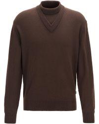 BOSS Regular-fit Virgin-wool Jumper With Hybrid Neckline - Brown