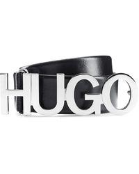 HUGO Cintura in pelle italiana con logo e fibbia color argento - Nero