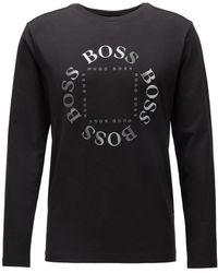 BOSS by Hugo Boss Camiseta regular fit en algodón elástico con logo reflectante - Negro
