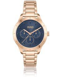 HUGO Carnation-gold-effect Watch With Logo Bezel - Metallic