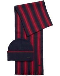 BOSS by Hugo Boss Ensemble bonnet et écharpe à rayures - Rouge