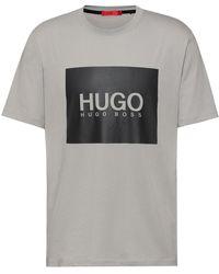 HUGO T-shirt Van Katoenen Jersey Met Logoboxprint - Metallic