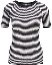 BOSS - Short-sleeved Knitted Top In Striped Cotton With Silk - Lyst