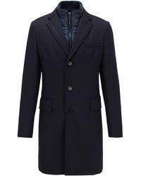 BOSS Slim-fit Coat With Detachable Inner Bib - Blue