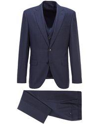 BOSS by HUGO BOSS Three-piece Regular-fit Suit In Patterned Virgin Wool - Blue