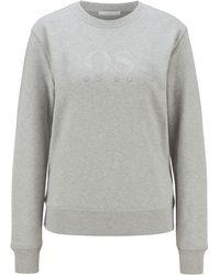 BOSS by HUGO BOSS Sweatshirt aus French Terry mit kristallbesetztem Logo - Mettallic