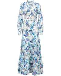 BOSS - Long-sleeved Silk Maxi Dress In Palm-leaf Print - Lyst