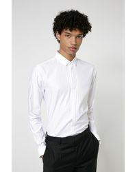 HUGO Chemise de soirée Extra Slim Fit en coton avec rayures placées - Blanc