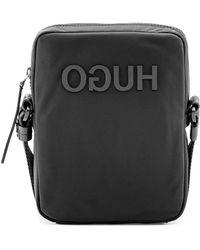 HUGO Reverse-logo Reporter Bag In Nylon Gabardine - Black