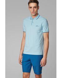 BOSS by Hugo Boss Polo Slim Fit en maille piquée stretch à logo incurvé - Bleu